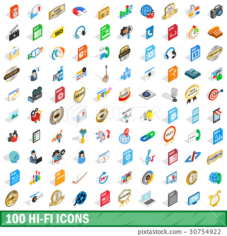 100 hi-fi icons set, isometric 3d style 30754922