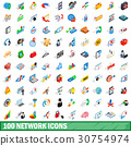 100 network icons set, isometric 3d style 30754974