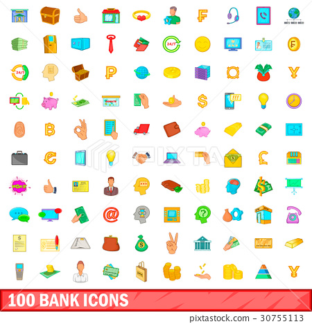 100 bank icons set, cartoon style 30755113