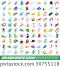 100 amusement icons set, isometric 3d style 30755118