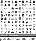 100 college icons set, simple style 30755185