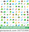 100 nature and landscape icons set 30755996