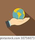 hand, globe, flat 30756073