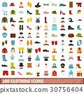 100 clothing icons set, flat style 30756404