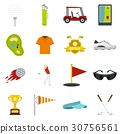 Golf items icons set in flat style 30756561