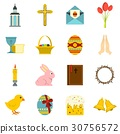 Easter items icons set in flat style 30756572