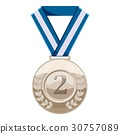 Silver medal with number two icon, cartoon style 30757089