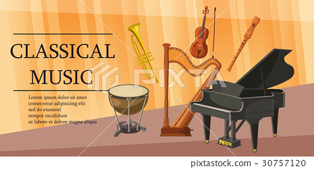 Classical music banner horizontal, cartoon style 30757120