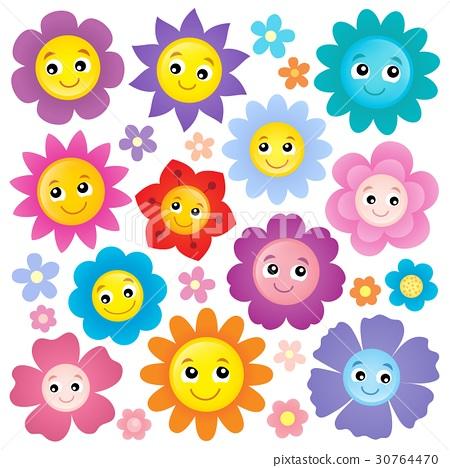 Happy flower heads theme set 1 30764470