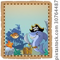 Parchment with pirate shark 2 30764487