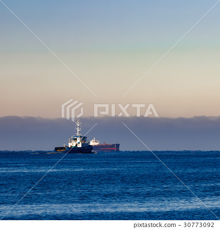Blue small tug ship 30773092