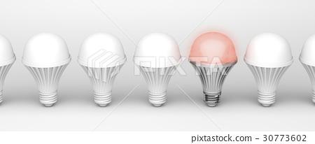 Unique glowing light bulb 30773602