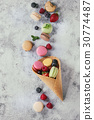 Variety of french dessert macaroons 30774487
