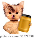 Funny dog holding container with sport nutrition 30779898