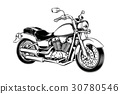 Hand-drawn vintage motorcycle. Classic chopper. 30780546