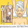 Pop art beautiful woman in the spa salon 30780744