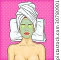 Pop art beautiful woman in spa environment 30780901