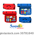 Top view collection of summer vacation suitcases 30781640