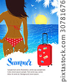 Summer design with young woman near sea surf 30781676