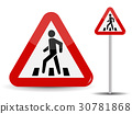 Road sign Warning. In Red Triangle man at 30781868