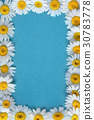 Garden flowers over blue table background 30783778