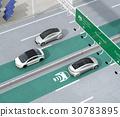 고속도로 비접촉 충전 우선 차선 주행하는 전기 자동차. 도로 측에 태양 광 발전 설비가 설치되어있는 30783895