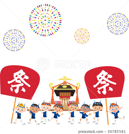 festival, portable shrine, firework 30785581