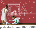 Merry Christmas and Happy New Year Illustration Concept 30787900