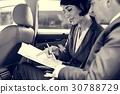 Business People Meeting Working Car Inside 30788729