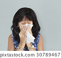 Woman Tissue Crying Sneezing Concept 30789467