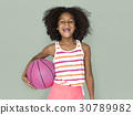 Little Girl Smiling Happiness Basketball Sport Portrait 30789982
