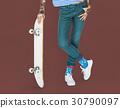 Tattoo Skater Holding Skateboard Extreme Sport Style 30790097