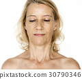 Woman Beared Chest Naked Portrait 30790346