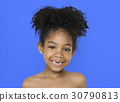 Little Girl Smiling Happiness Bare Chest Topless Studio Portrait 30790813