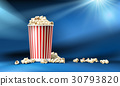 Vector red and white cardboard bucket with popcorn 30793820