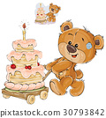 Vector illustration of a brown teddy bear rolling 30793842