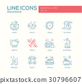 Types of Insurance - line design icons set 30796607