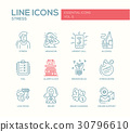 Stress at work - line design icons set 30796610
