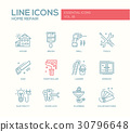 Home repair line design icons set 30796648