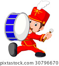 marching band banging a big bass drum 30796670