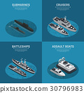 Square Military Boats Isometric Icon Set 30796983