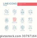 Poker - line design icons set 30797164