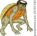 Kappa Monster Crouching Drawing 30797182