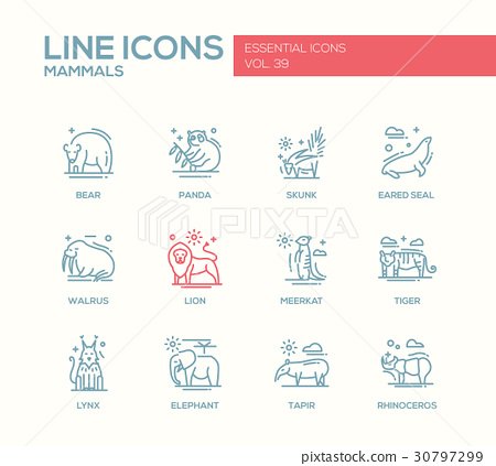 Mammals - line design icons set 30797299