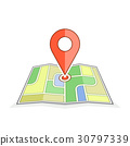 Abstract city map with pointer 30797339