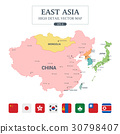 East Asia Map Full Color High Detail Separated all 30798407