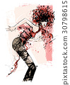 Woman dancing over a grunge background 30798615
