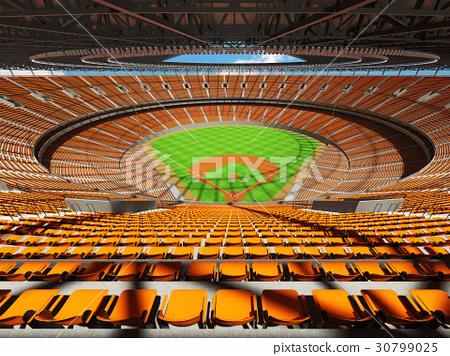Baseball stadium with orange seats and VIP boxes 30799025