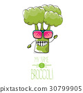 vector funny cartoon cute green broccoli character 30799905