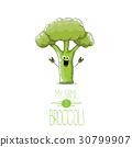 vector funny cartoon cute green broccoli character 30799907